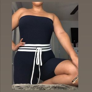 Navy Blue Ribbed Strapless Romper - Size M